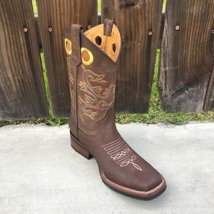 Men's cowboy Rodeo Brown Boots Leather